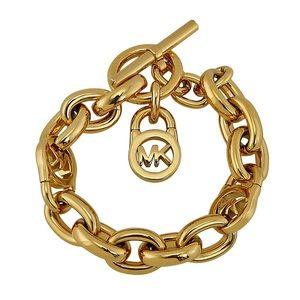 Michael Kors Gold Chain Link Logo Bracelet